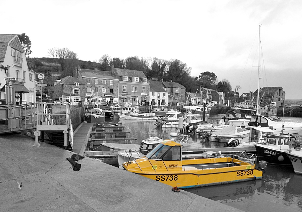 Yellow boat on grey, Padstow